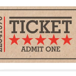 Cinema old type ticket beige isolated recycle, top view on a white background, 3d illustration.